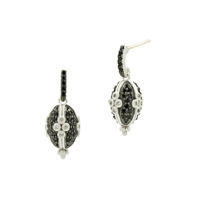 Freida Rothman IF SS/BLK RHOD/CZ CLOVER OVAL PAVE EARR 14K POSTS