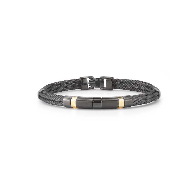 ALOR Black steel and 18K Yellow gold men's bracelet