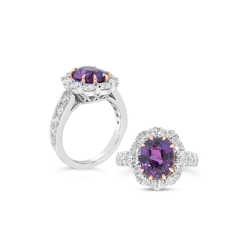 Aires Signature Collection purple sapphire and diamond ring
