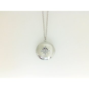 14KW .02CT DIA ROUND LOCKET 14.6MM