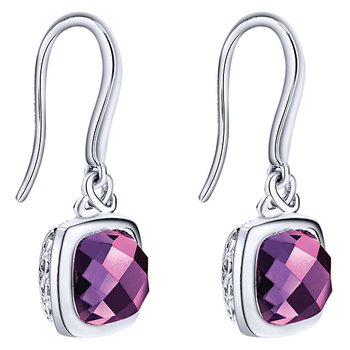 SS/ AMETHYST DANGLE EARRINGS