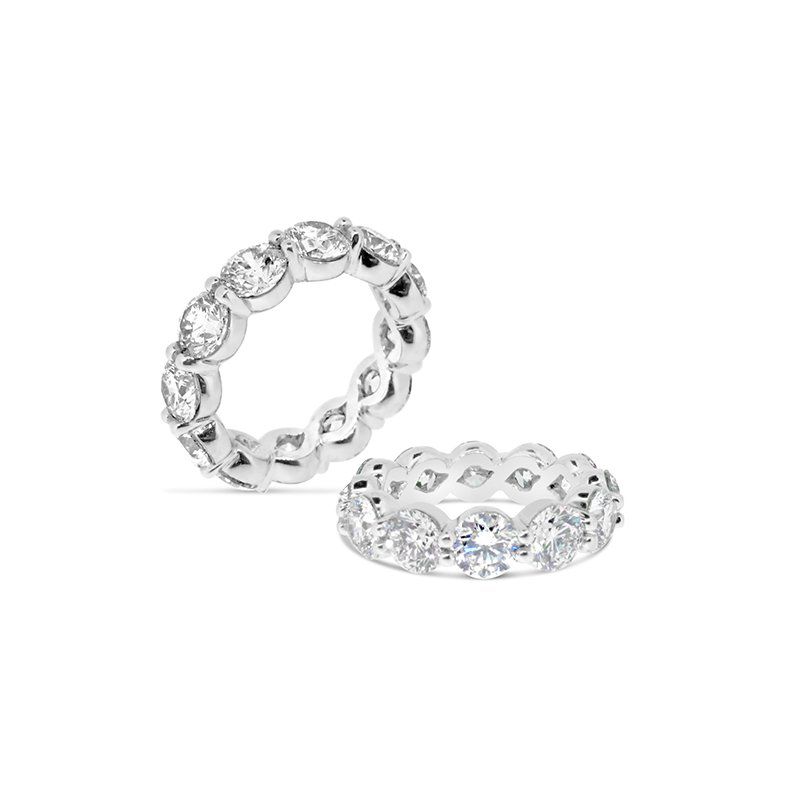 Aires Custom Bridal shared prong eternity band