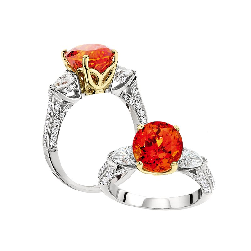 Aires Signature Collection Mandarin Garnet and Diamond ring