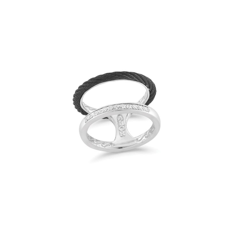 ALOR Black steel cable open ring with diamonds set in 18K white gold