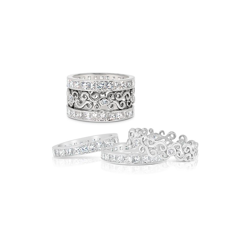 Aires Custom Bridal scroll stackable bands