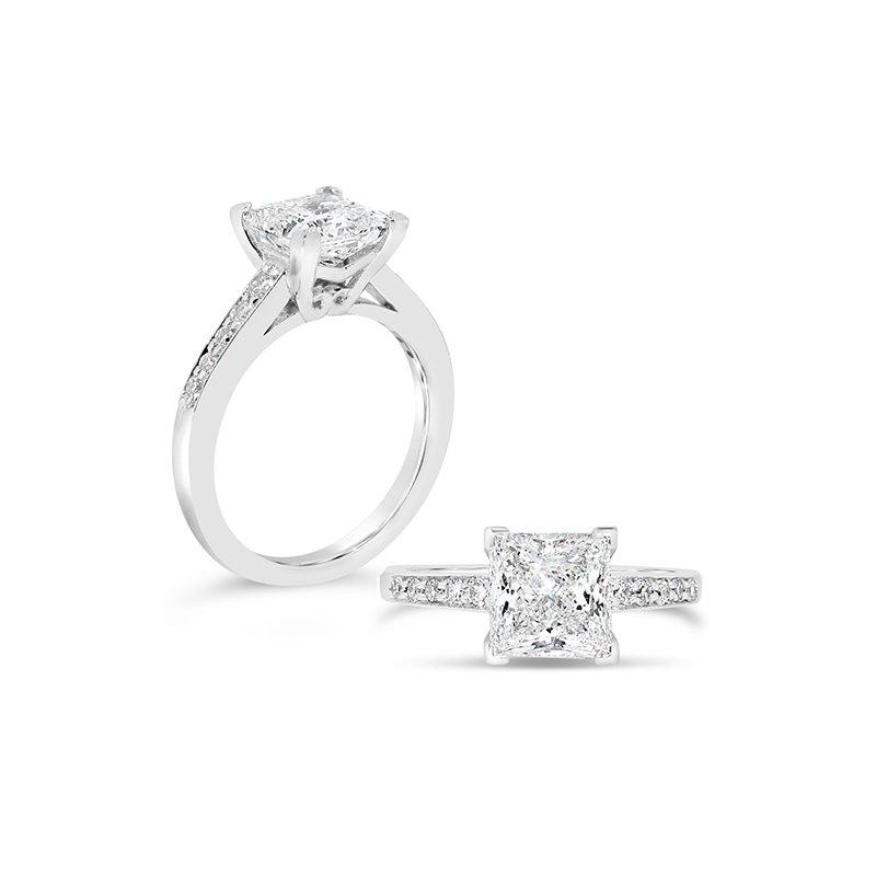 Aires Custom Bridal princess cut diamond ring