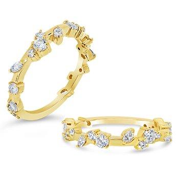 round and marquise diamond band