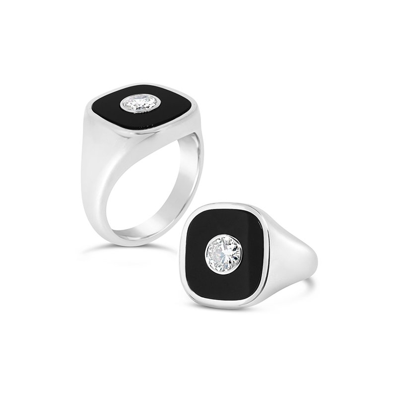 Aires Custom Fashion black onyx and diamond ring