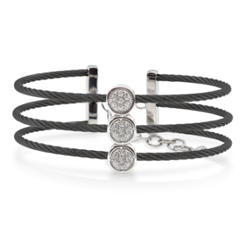 Burano 3-Row Black Cable Bracelet with White Topaz set in 14kt Gold