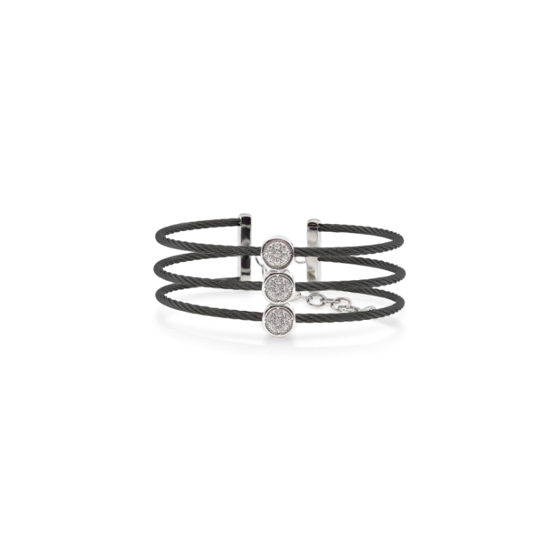 ALOR Burano 3-Row Black Cable Bracelet with White Topaz set in 14kt Gold