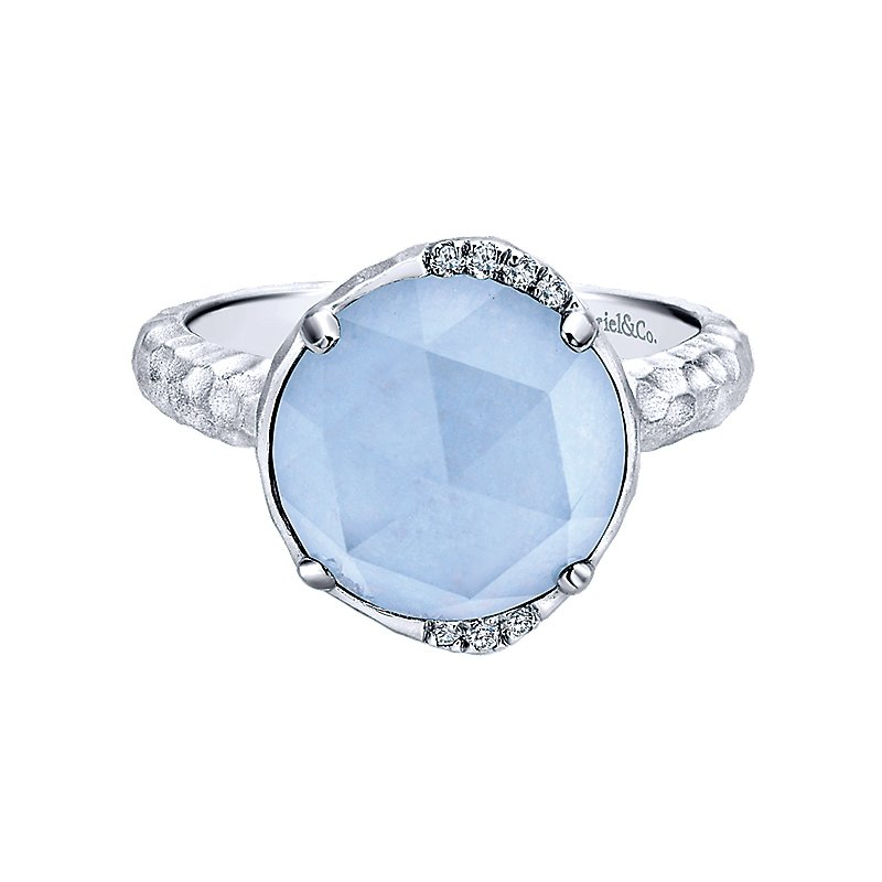 Gabriel Fashion SS/ .04CT DIA/ BLU JADE/ XLT QTZ RING