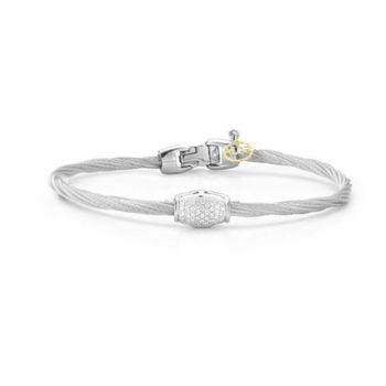 Alor Classique Collection Stainless Steel and White Gold Silver Twist Design Cable Bangle Bracelet