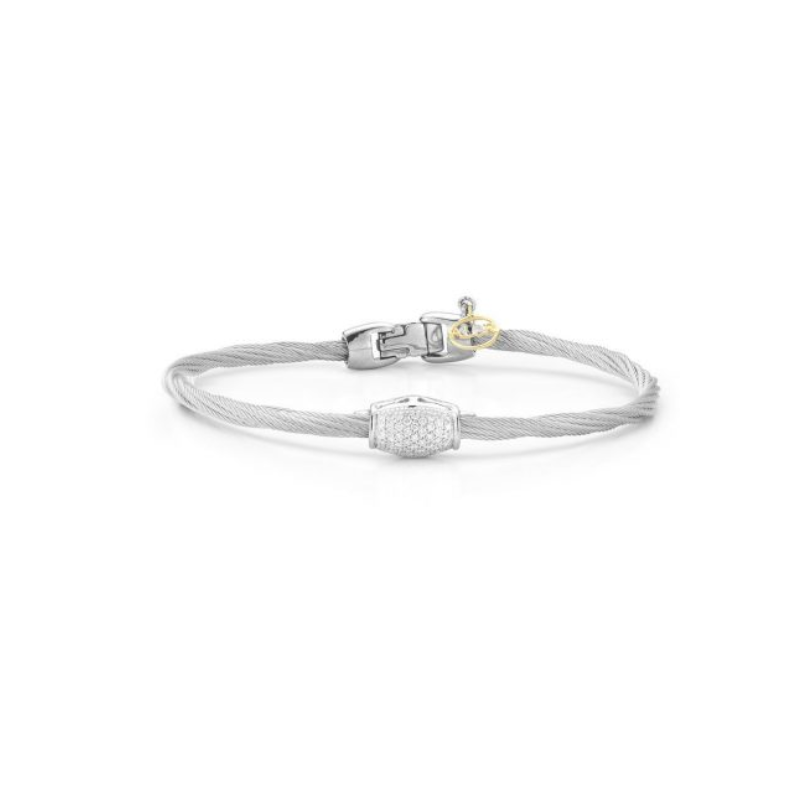 ALOR Alor Classique Collection Stainless Steel and White Gold Silver Twist Design Cable Bangle Bracelet