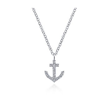 14KW .09CT DIA ANCHOR NECKLACE
