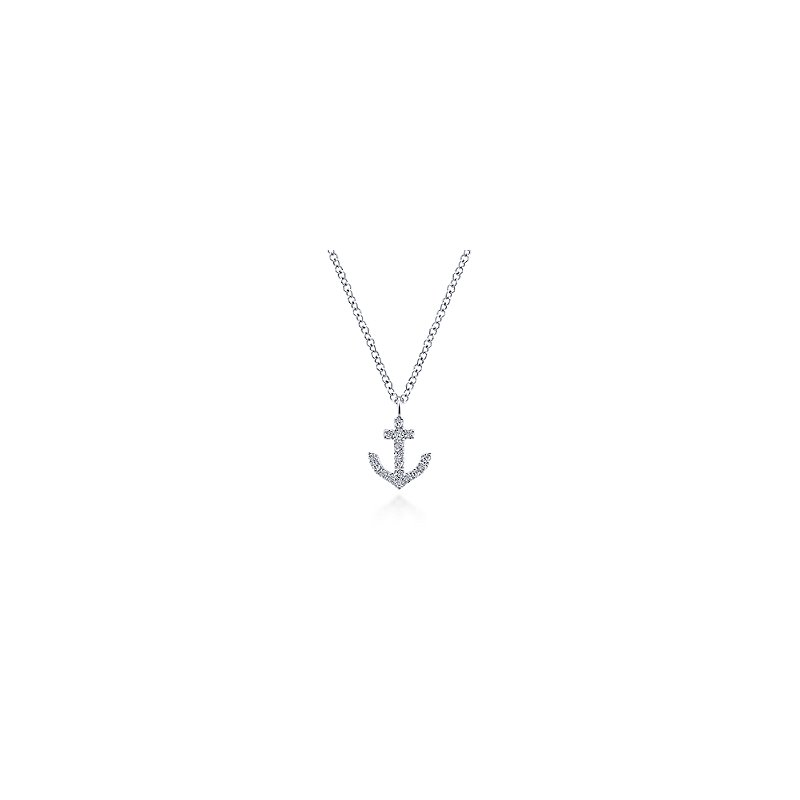 Gabriel Fashion 14KW .09CT DIA ANCHOR NECKLACE