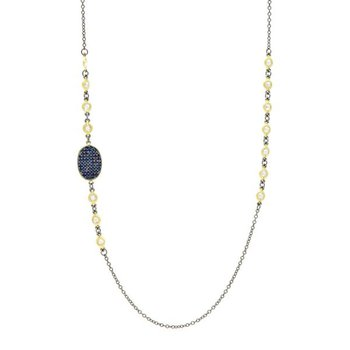 MD II/ SS/ 14KYP/ CZ STATION NECKLACE 36""