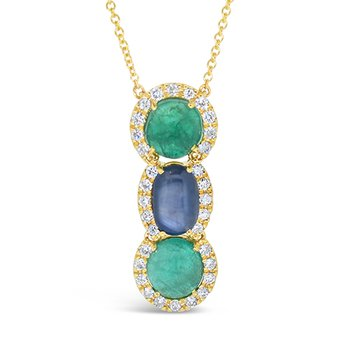 sapphire and emerald pendant
