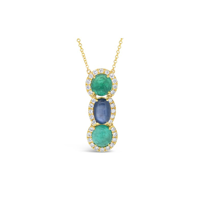 Aires Custom Fashion sapphire and emerald pendant