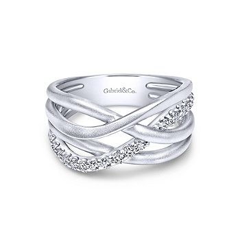 SS/ WHT SAPPH CROSSOVER RING SZ 6.5