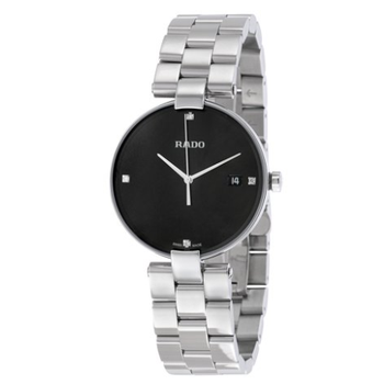 Rado Coupole Black Dial Ladies Stainless Steel Watch R22852703