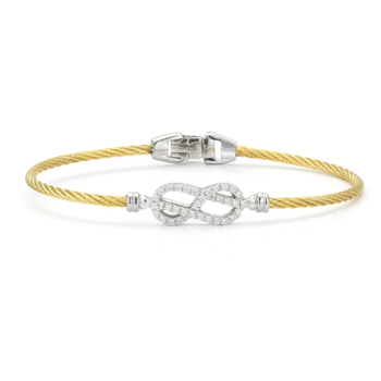 Classique Yellow Cable Bangle with White Gold and Diamond Open Knot Station