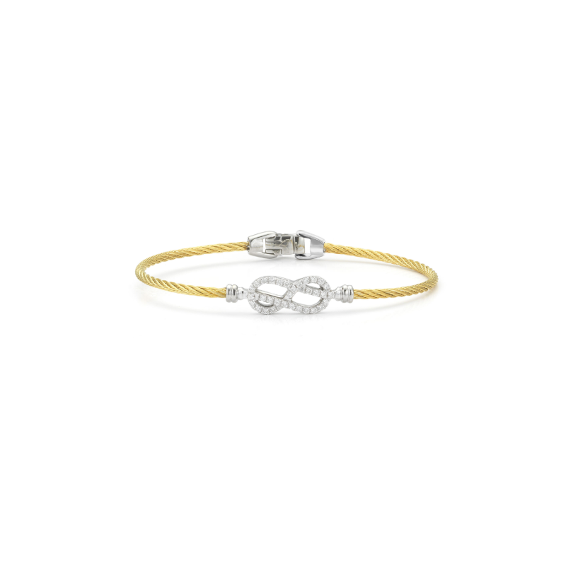 ALOR Classique Yellow Cable Bangle with White Gold and Diamond Open Knot Station