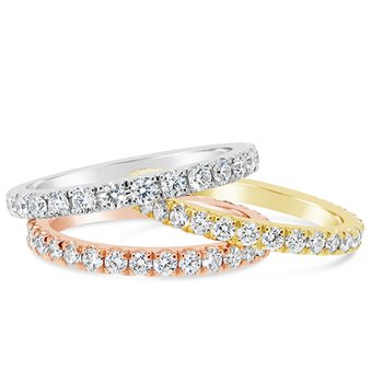 white, yellow and rose diamond bands
