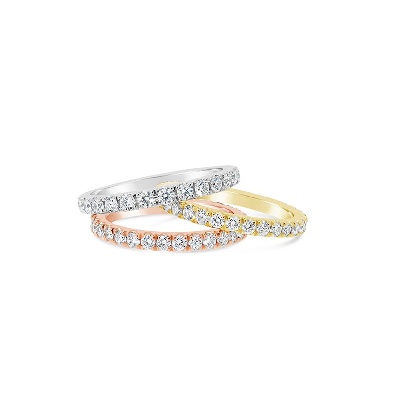 Aires Custom Bridal white, yellow and rose diamond bands