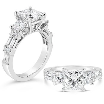 princess center three stone ring