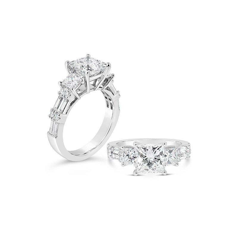 Aires Custom Bridal princess center three stone ring