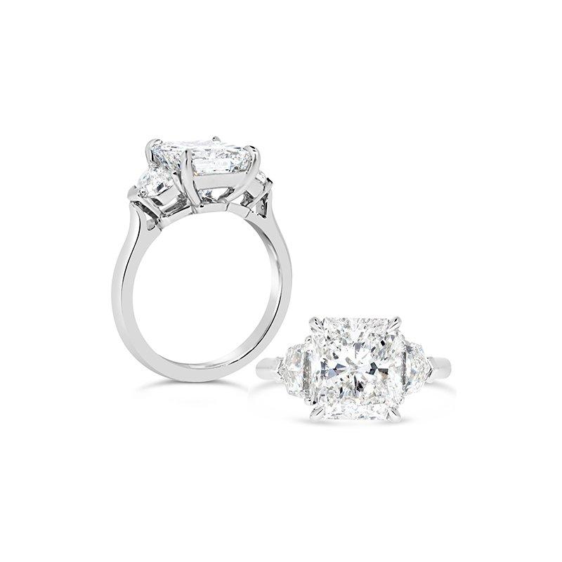 Aires Custom Bridal radiant center three stone ring