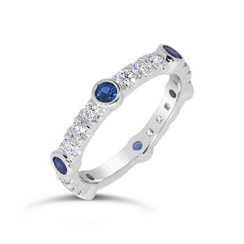 round blue sapphire and diamond band