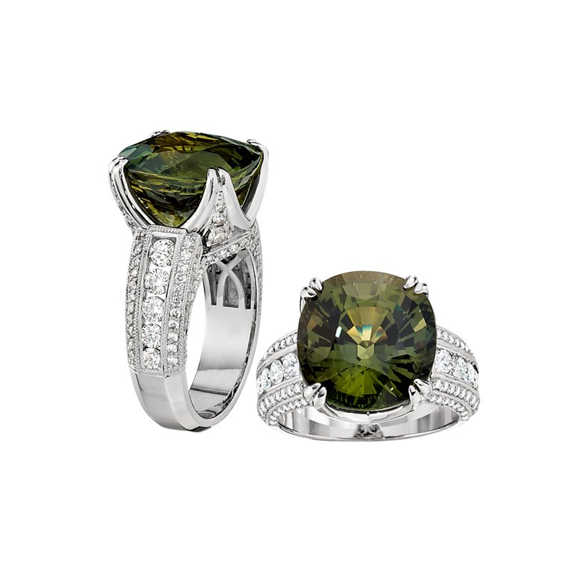 Aires Signature Collection Green Sapphire and Diamond ring
