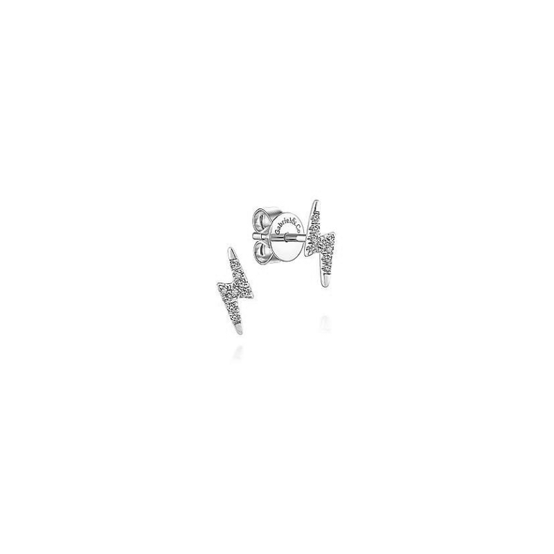 Gabriel Fashion 14KW .07CT DIA BOLT EARRINGS