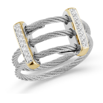 Grey Cable Petite Flex Ring with Dual 18kt Yellow Gold Bars & Diamonds