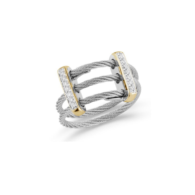 ALOR Grey Cable Petite Flex Ring with Dual 18kt Yellow Gold Bars & Diamonds