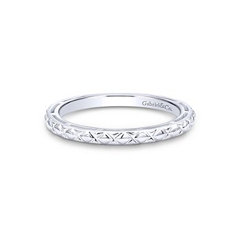 14KW ENGRAVED STACKING RING