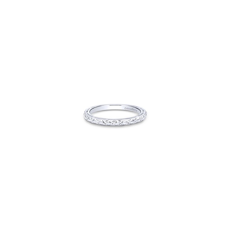 Gabriel Fashion 14KW ENGRAVED STACKING RING