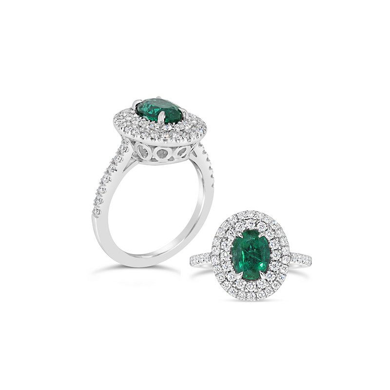 Aires Custom Fashion emerald and diamond ring