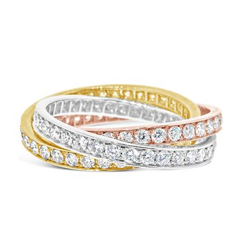 tri-color diamond rolling rings