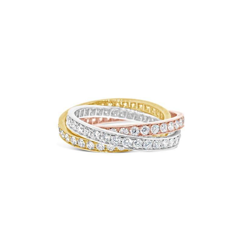 Aires Custom Fashion tri-color diamond rolling rings