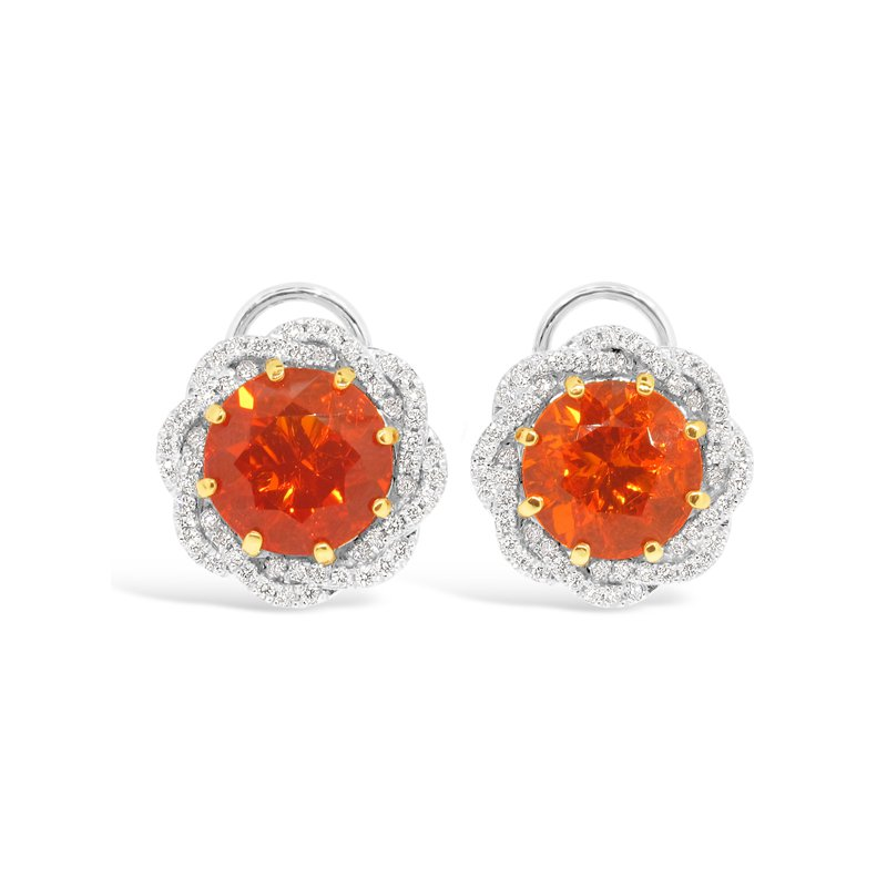 Aires Signature Collection Fire Opal and Diamond earrings