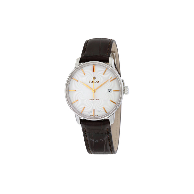 Rado Coupole Classic Silver Dial Black Leather Men's Watch