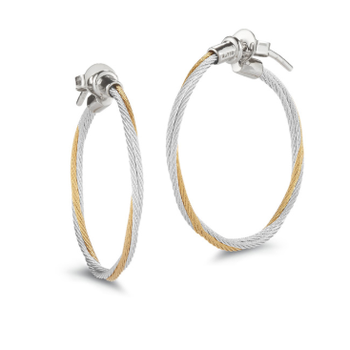 Classique Yellow and Grey Cable Twisted Hoop Earrings