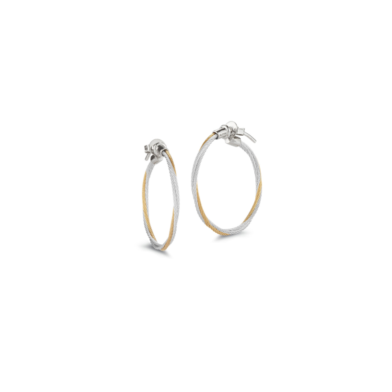 ALOR Classique Yellow and Grey Cable Twisted Hoop Earrings