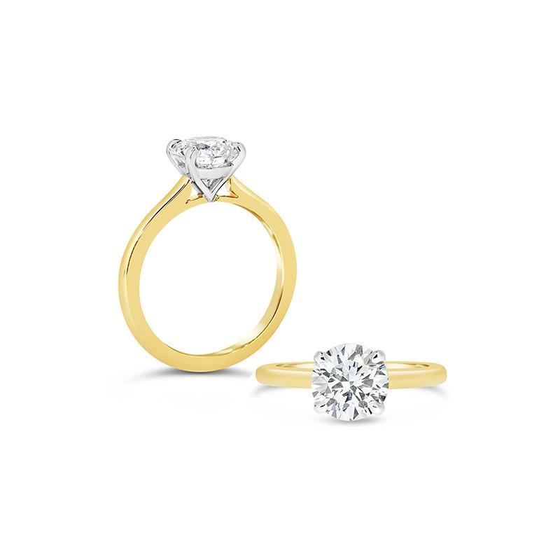Aires Custom Bridal round center solitaire ring