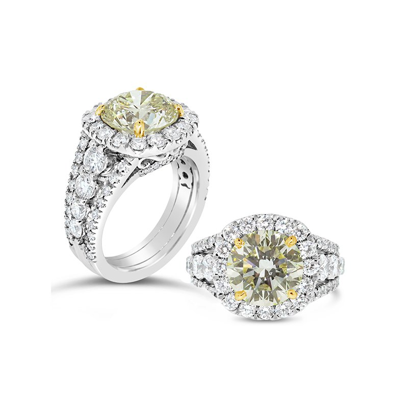 Aires Custom Bridal Fancy yellow Diamond ring