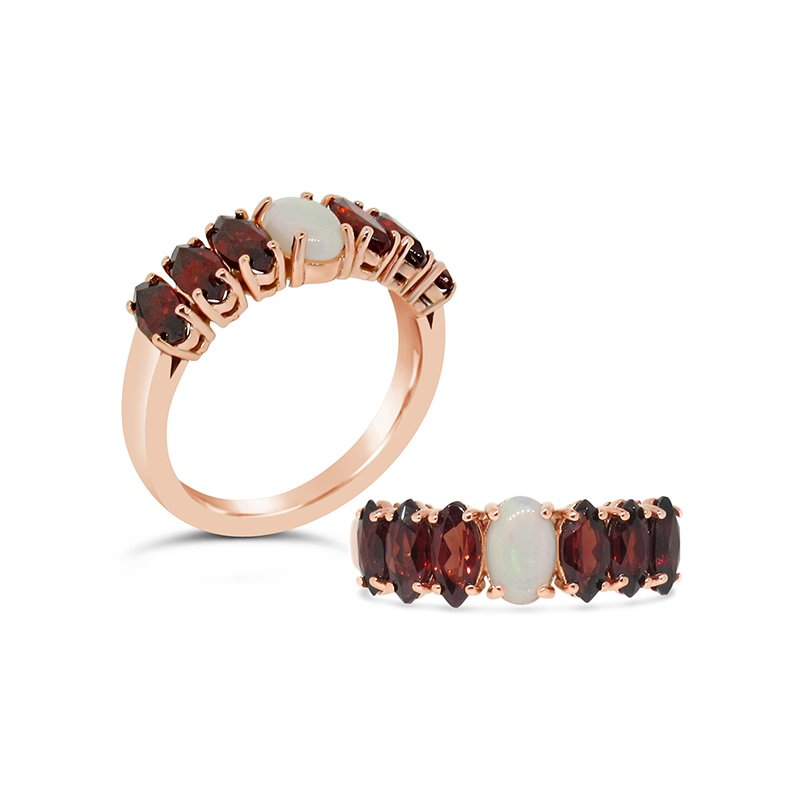 Aires Custom Fashion garnet and opal ring