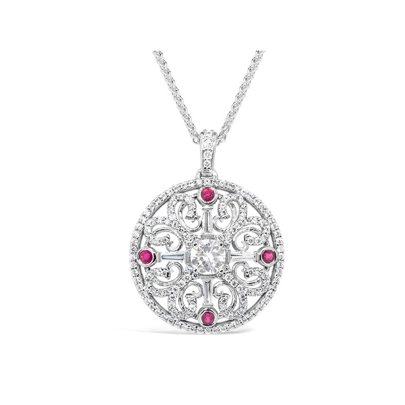 Aires Custom Fashion diamond and ruby pendant