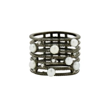 IF SS/BLK RHOD/ CZ PEARL CAGE RING  SZ 6